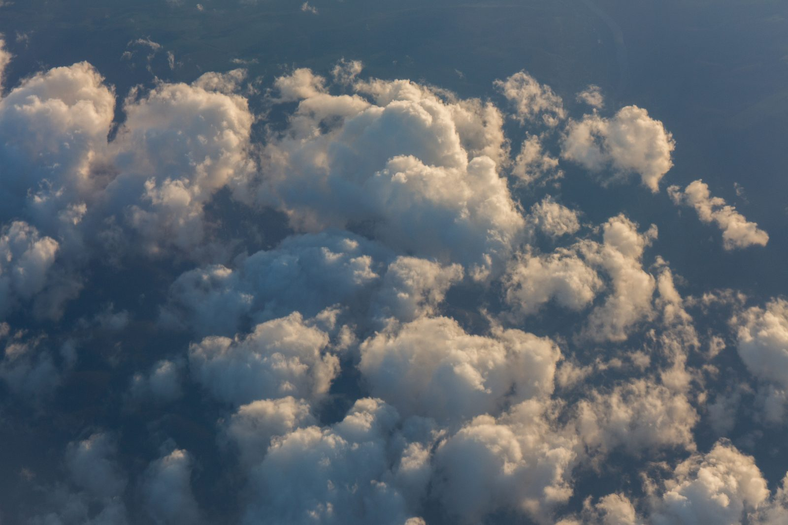 Clouds on the sky seen from above