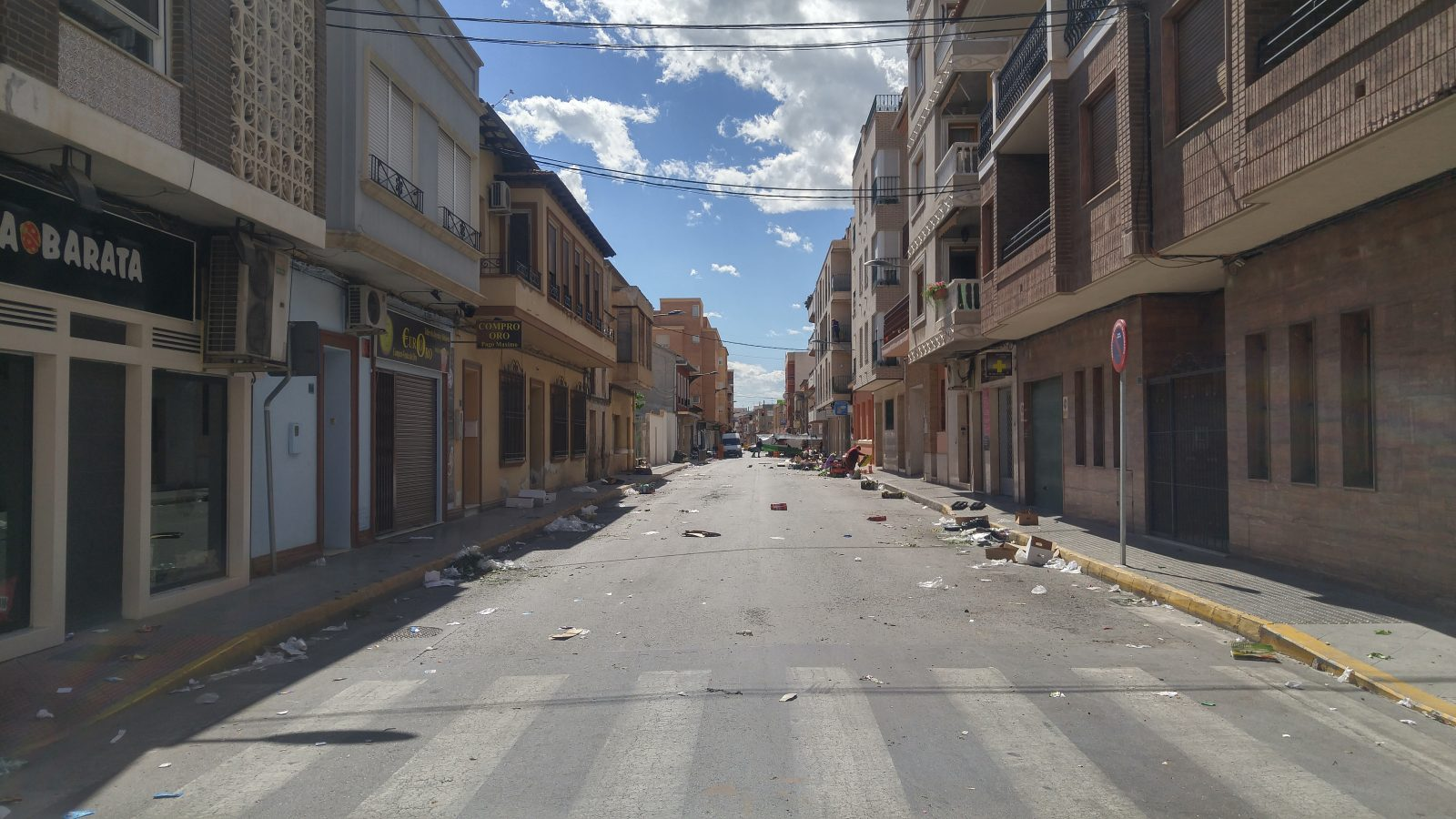 Street in Almoradi, Spain after the Market Day