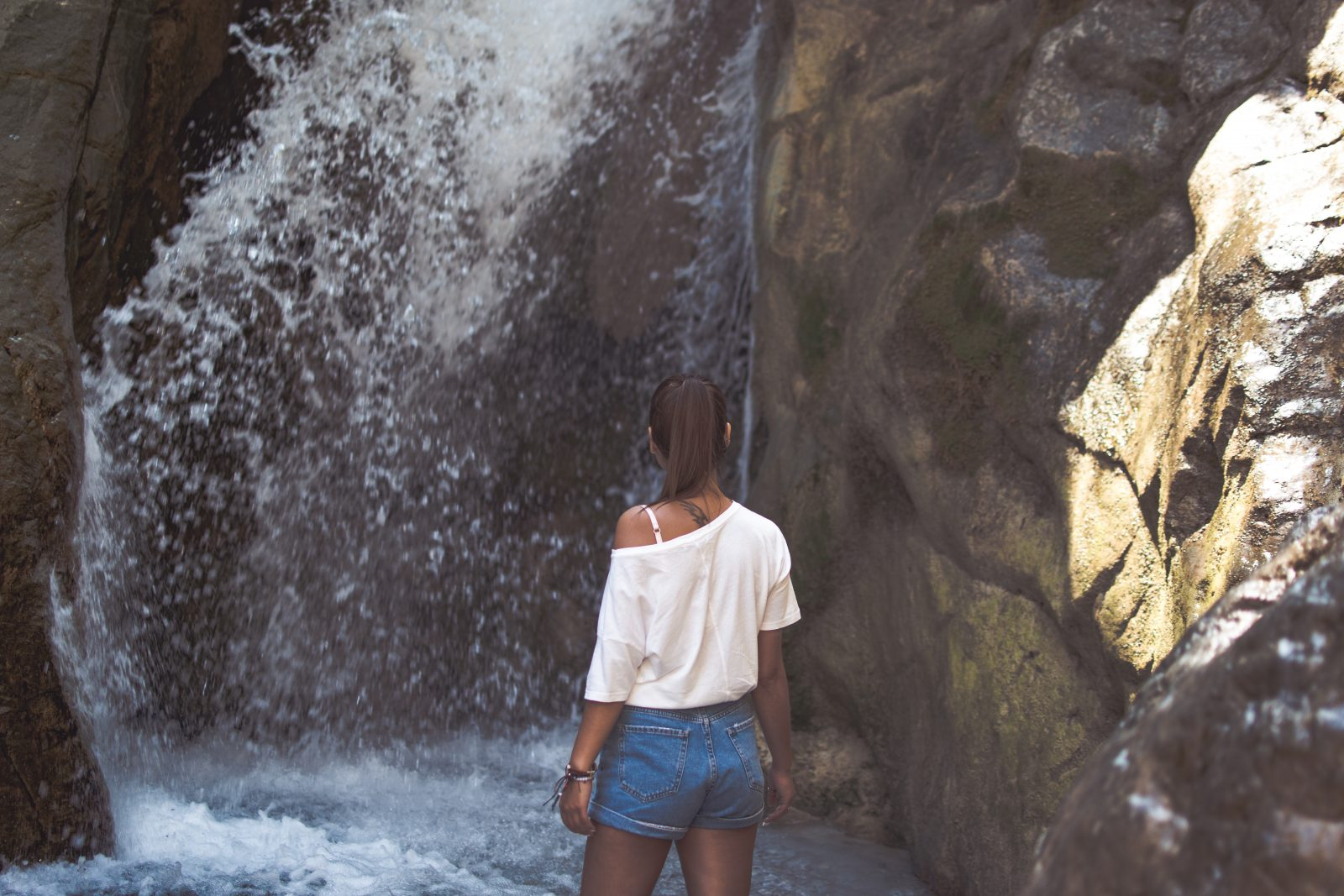 A girl and a waterfall