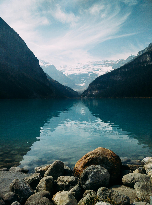 Lake Between Mountains Free Stock Photos Life Of Pix