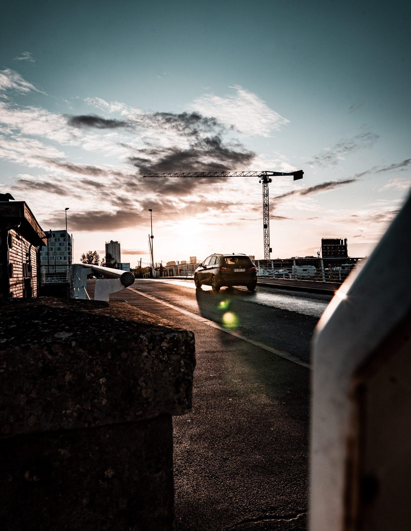 Sunrise over a car